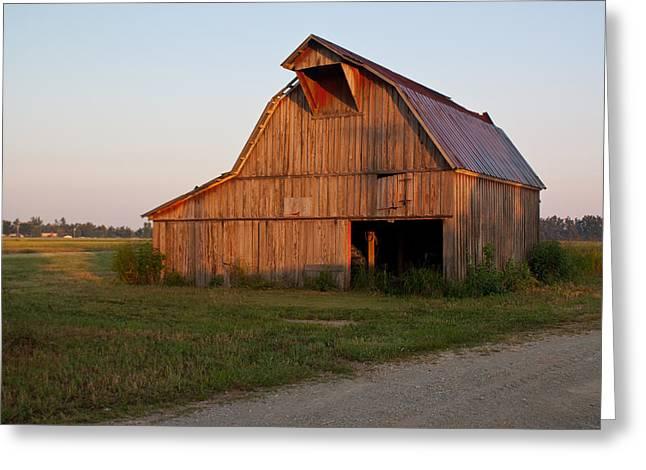 Barn at Early Dawn Greeting Card by Douglas Barnett