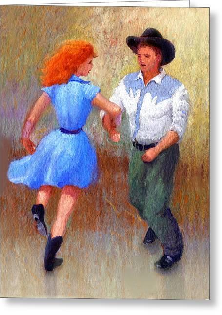 Barn Dance Greeting Cards - Barn Dance Couple Greeting Card by John DeLorimier
