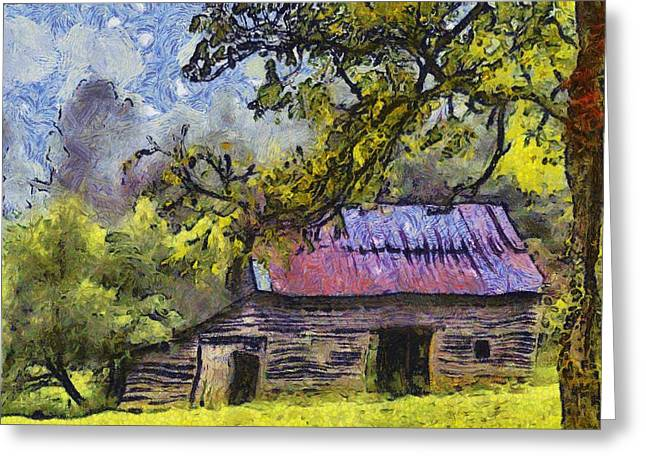 Van Gogh Style Greeting Cards - Barn  Greeting Card by Dennis Wickerink
