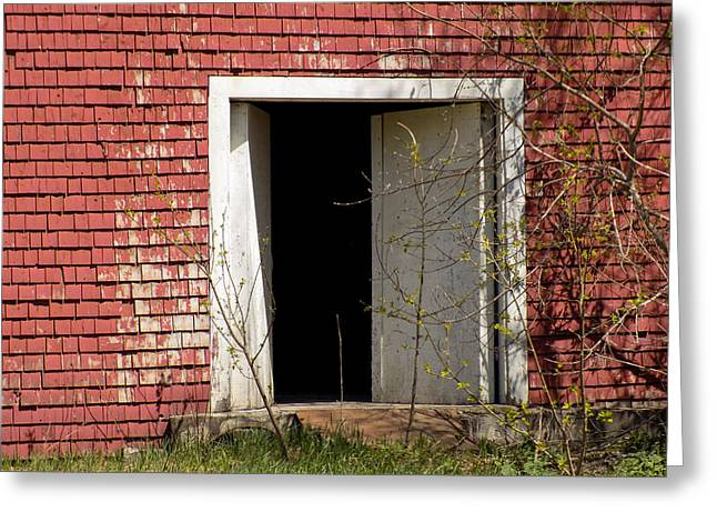Maine Farms Greeting Cards - Barn Door and Cedar Greeting Card by William Tasker