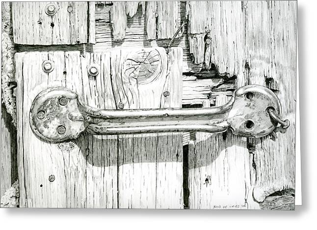 Photorealism Drawings Greeting Cards - Barn door Greeting Card by Rob De Vries