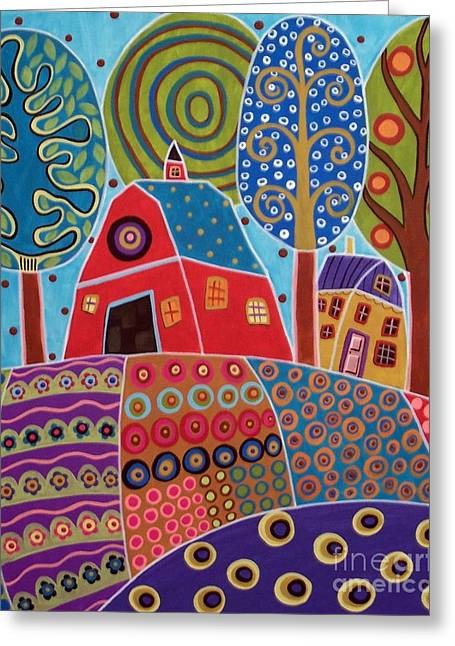 Colorful Houses Greeting Cards - Barn Garden Landscape Greeting Card by Karla Gerard