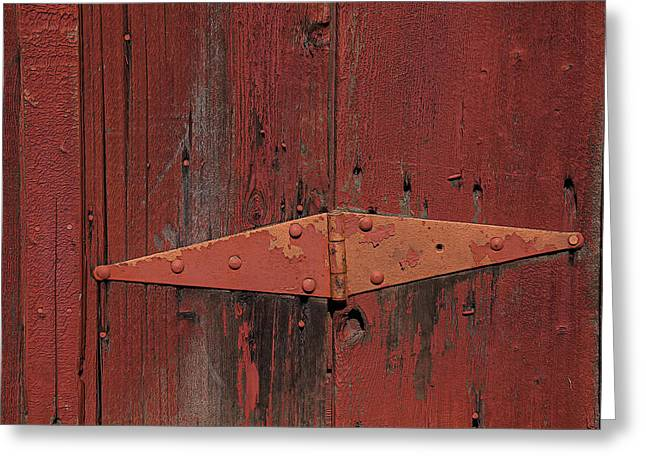 Red Doors Greeting Cards - Barn hinge Greeting Card by Garry Gay