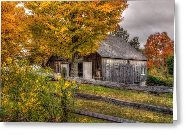 Barn In Autumn Greeting Card by Joann Vitali