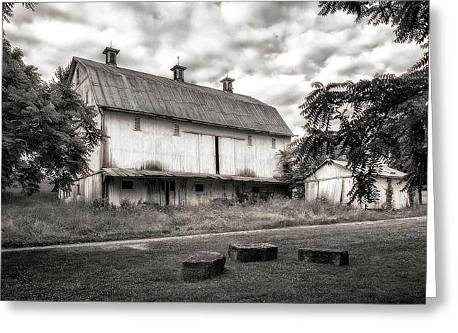Barn In Black And White Greeting Card by Tom Mc Nemar