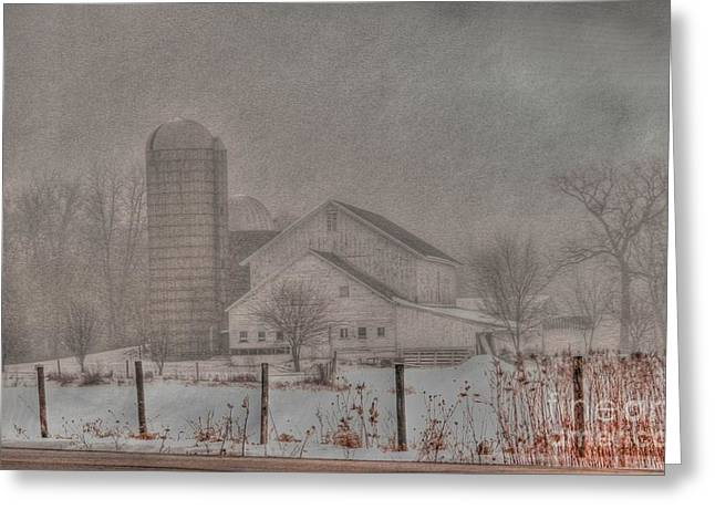 Foggy Day Greeting Cards - Barn in fog Greeting Card by David Bearden