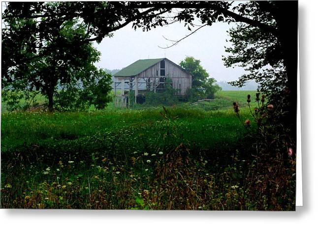 Barn In Meadow Greeting Card by Michael L Kimble