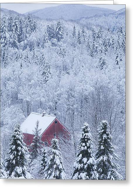 Red Roofed Barn Greeting Cards - Barn In Snowy Landscape Greeting Card by Alan L Graham