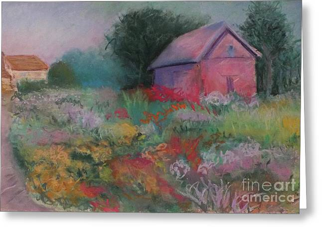Colorful Barn In Summer Greeting Card by Laura Sullivan