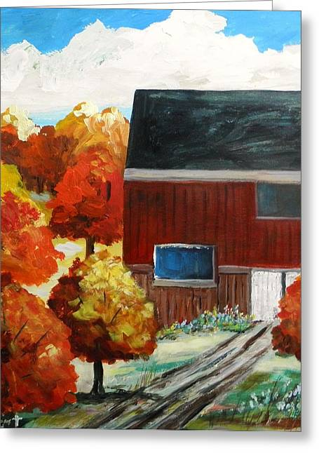 Red Roofed Barn Drawings Greeting Cards - Barn in the Orchard Greeting Card by John  Williams