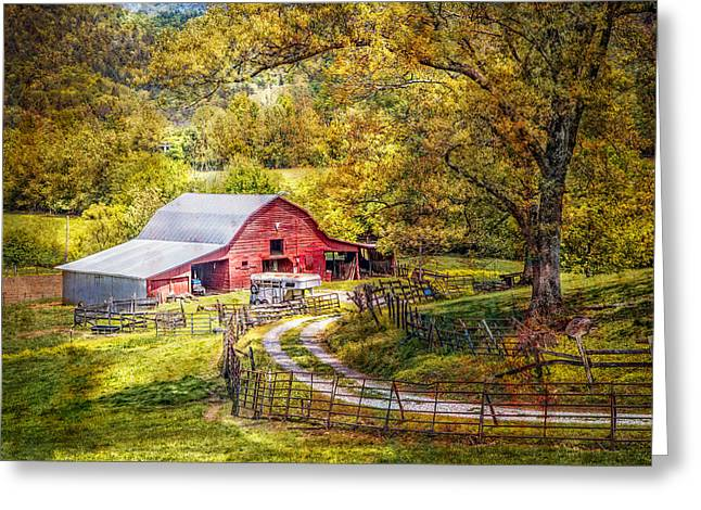 Vintage Greeting Cards - Barn in the Valley Greeting Card by Debra and Dave Vanderlaan