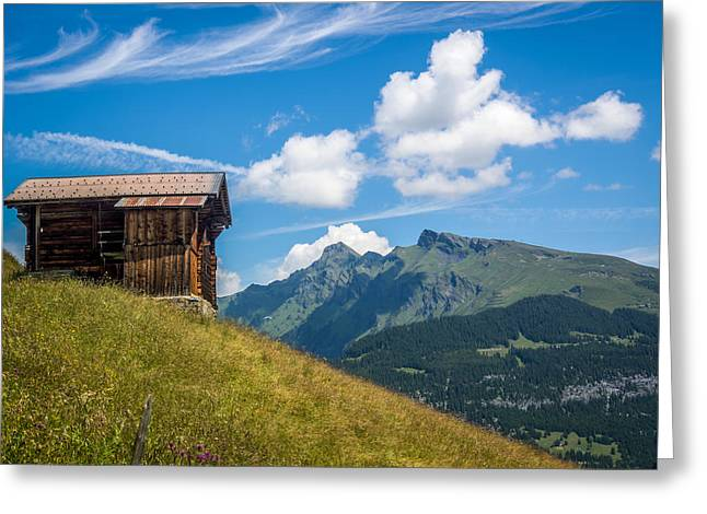 Murren Greeting Cards - Barn on a Hill Greeting Card by Justin Woodhouse