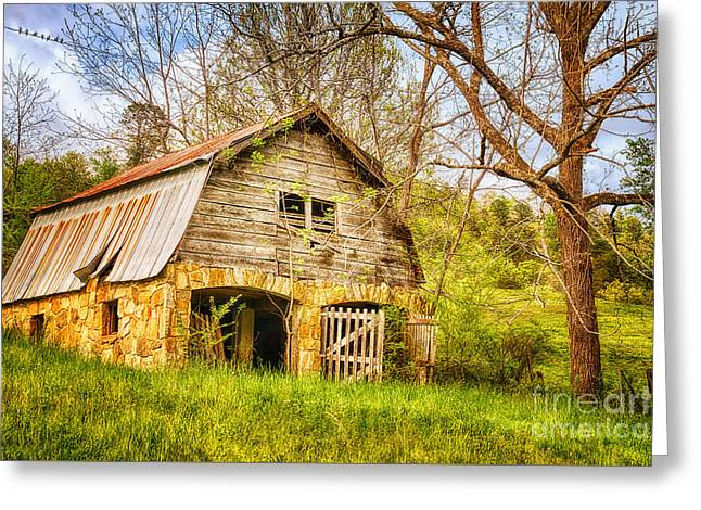 Wooden Building Greeting Cards - Barn On A Hillside Greeting Card by Priscilla Burgers