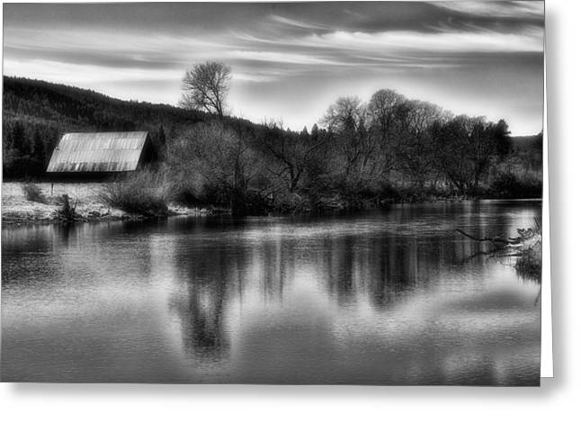 Barn On Fall River Greeting Card by Dennis Adams