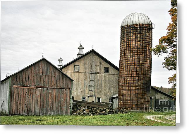 Newengland Greeting Cards - Barn On The Georgia Shore Road Greeting Card by Deborah Benoit