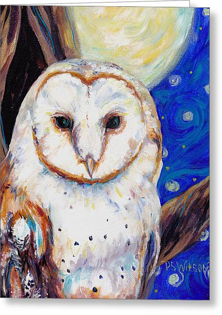 Barn Owls Greeting Cards - Barn Owl in Starry Night Greeting Card by Peggy Wilson
