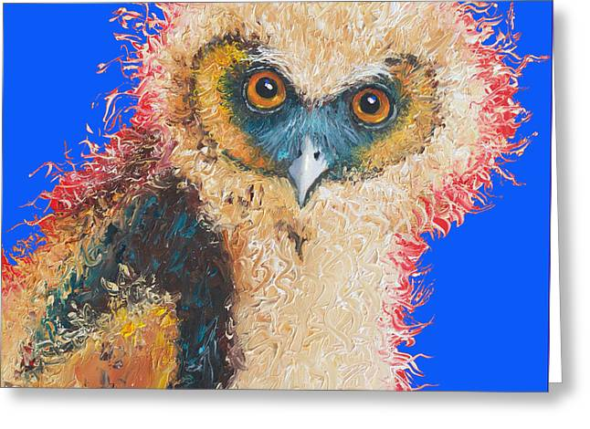 Quirky Paintings Greeting Cards - Barn Owl painting Greeting Card by Jan Matson
