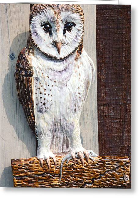 Barn Ceramics Greeting Cards - Barn Owl Sculpture Greeting Card by Dy Witt