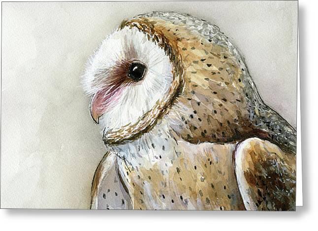 Barn Owl Watercolor Greeting Card by Olga Shvartsur