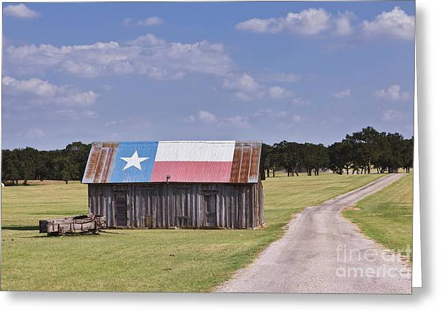 Dirt Road Greeting Cards - Barn Painted as the Texas Flag Greeting Card by Jeremy Woodhouse