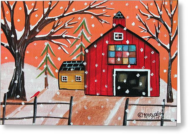 Winter Prints Greeting Cards - Barn Quilt Greeting Card by Karla Gerard