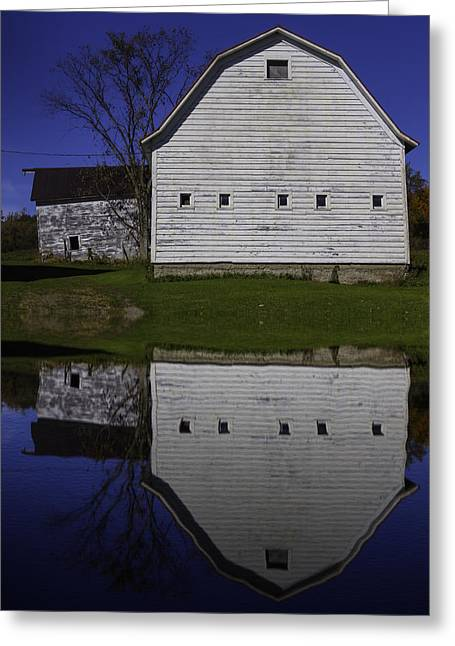 White Barns Greeting Cards - Barn Reflection Greeting Card by Garry Gay