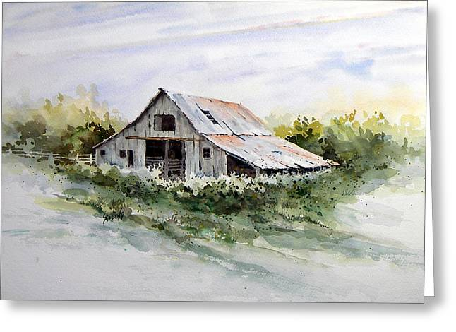 Shed Paintings Greeting Cards - Barn Greeting Card by Sam Sidders