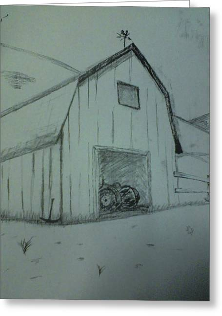 Lanscape Drawings Greeting Cards - Barn Greeting Card by Shawn Fazenbaker