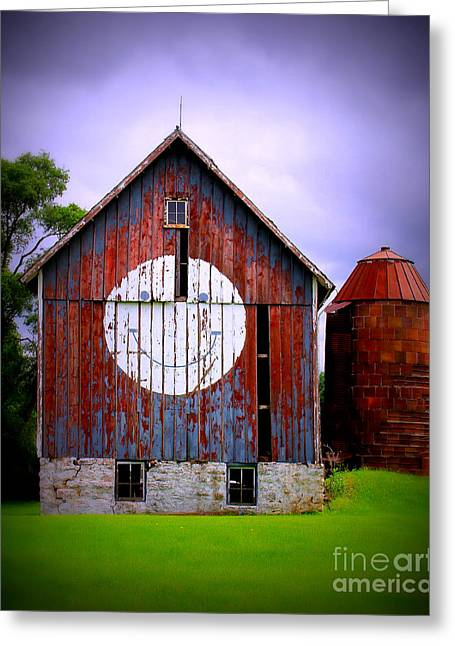 Weathered Barn Greeting Cards - Barn Smile Greeting Card by Perry Webster