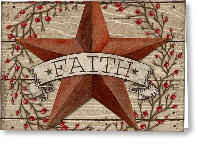 Country Western Greeting Cards - Barn Star with Berries I Greeting Card by Paul Brent