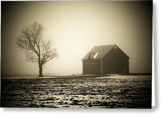 Tyree Greeting Cards - Barn Tree  Fog Greeting Card by Michael L Kimble