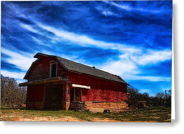 White Photographs Greeting Cards - Barn under blue sky Greeting Card by Toni Hopper