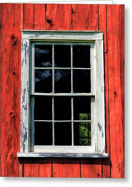 Pealed Greeting Cards - Barn Window Closeup at Old World Wisconsin Greeting Card by Christopher Arndt