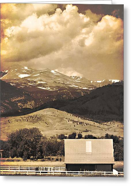 Striking Images Greeting Cards - Barn with a Rocky Mountain View in Sepia Greeting Card by James BO  Insogna