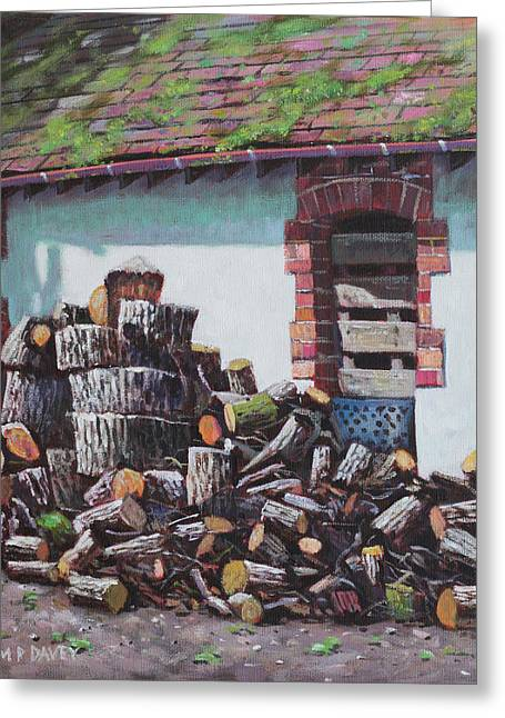 Sheds Greeting Cards - Barn with log pile Greeting Card by Martin Davey