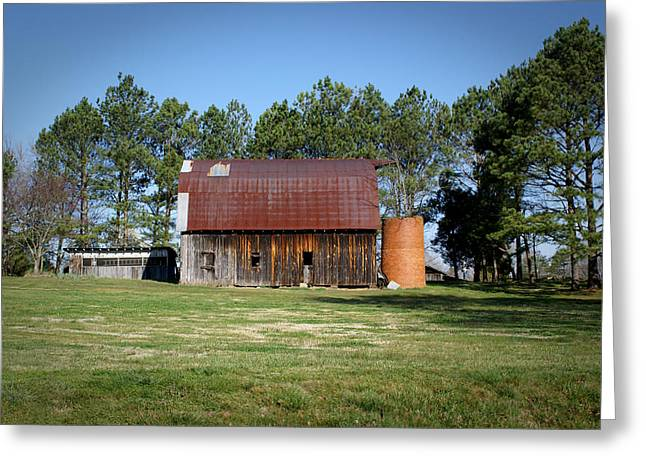 Barn with Tree in Silo Greeting Card by Douglas Barnett