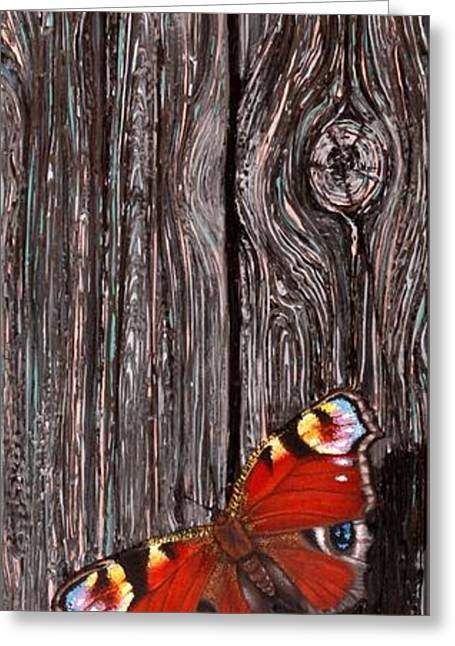 Old Barns Greeting Cards - Barn Wood Butterfly Greeting Card by Suzanne Rende-Chorno