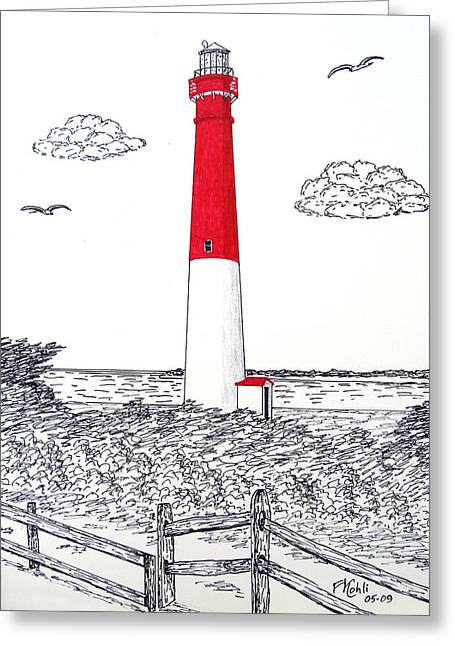 Historic Buildings Images Drawings Greeting Cards - Barnegat Light Drawing Greeting Card by Frederic Kohli