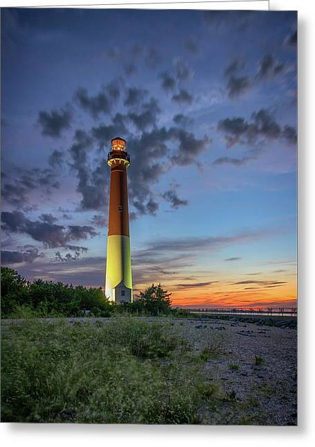 Barnegat Lighthouse At Dusk Greeting Card by Rick Berk
