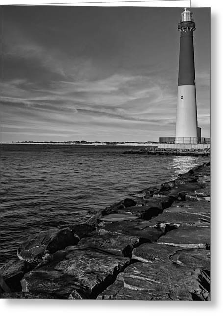 Barnegat Light Greeting Cards - Barnegat Lighthouse BW Greeting Card by Susan Candelario