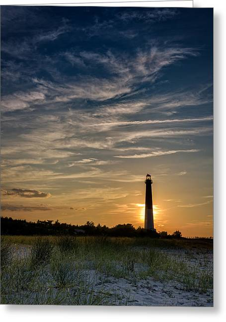Dune Grass Greeting Cards - Barnegat Sunset Greeting Card by Rick Berk
