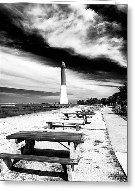 Barnegat Light Greeting Cards - Barneget Picnic Tables Greeting Card by John Rizzuto