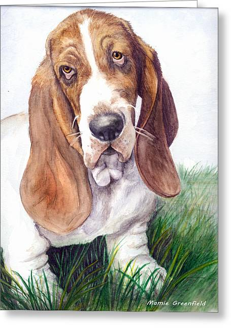 Basset Drawings Greeting Cards - Barney Greeting Card by Mamie Greenfield