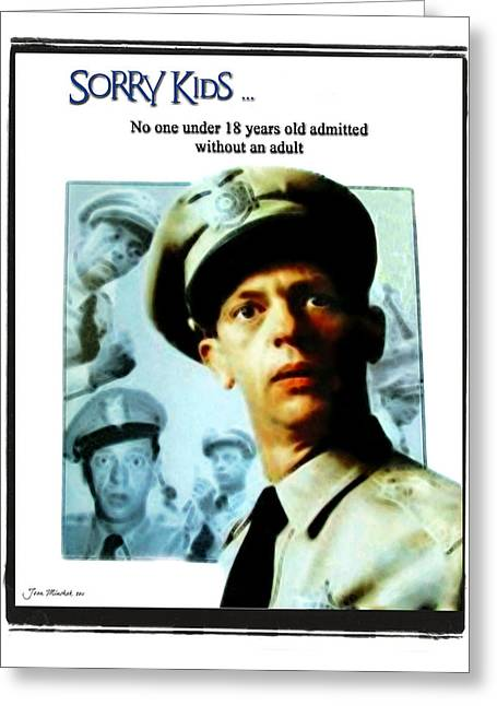 Andy Griffith Show Greeting Cards - Barney Poster Greeting Card by Joan  Minchak
