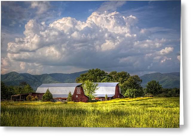 Barns Under The Clouds Greeting Card by Debra and Dave Vanderlaan