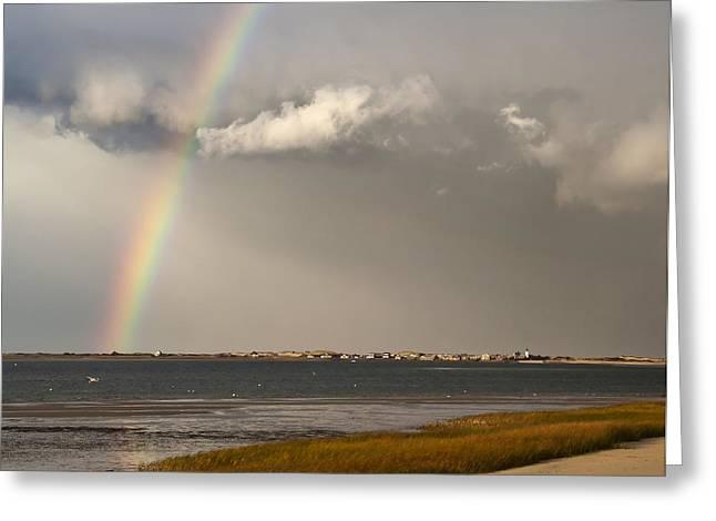Barnstable Harbor Rainbow Greeting Card by Charles Harden