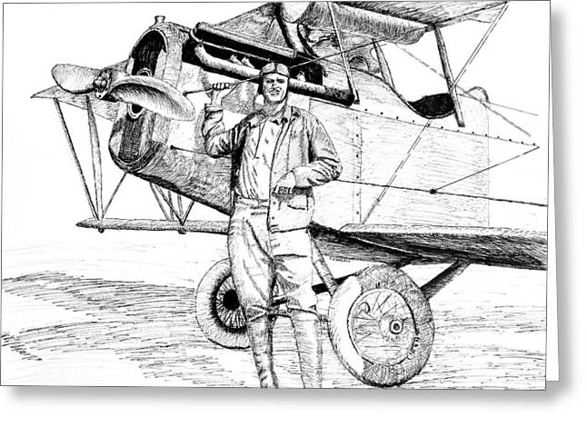 Barnstormer Greeting Cards - Barnstormer with Curtiss Jenny Greeting Card by Ron Enderland
