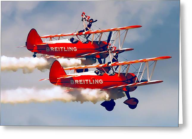 Daredevil Greeting Cards - BARNSTORMERS and WING WALKERS Greeting Card by Daniel Hagerman