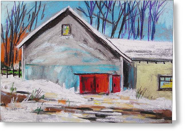 Red Roofed Barn Pastels Greeting Cards - Barnyard in Winter Greeting Card by John  Williams