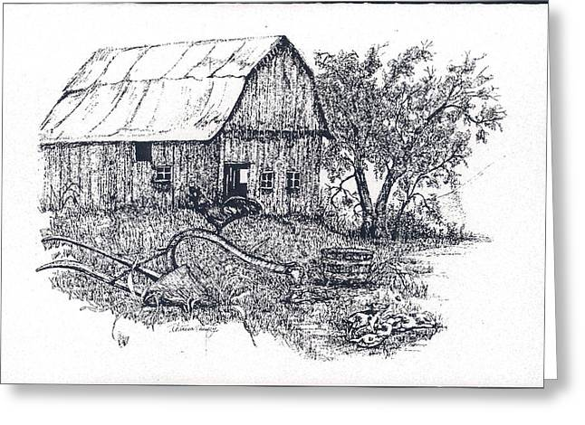 Best Sellers -  - Barn Pen And Ink Greeting Cards - Barnyard Greeting Card by Theresa Causey